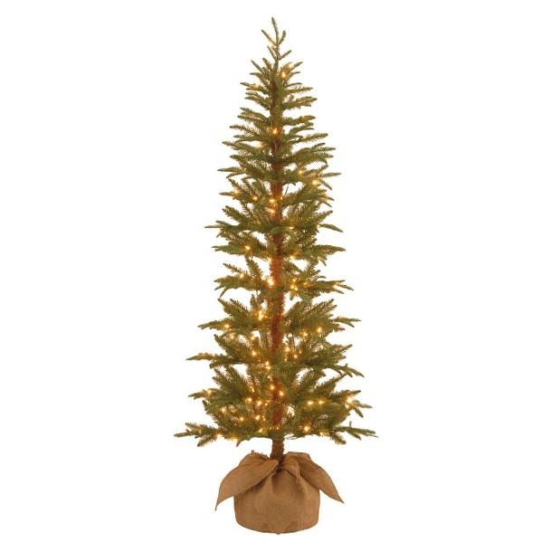 6' Pre-Lit Spruce Tree w/ Burlap Bag - Clear Lights