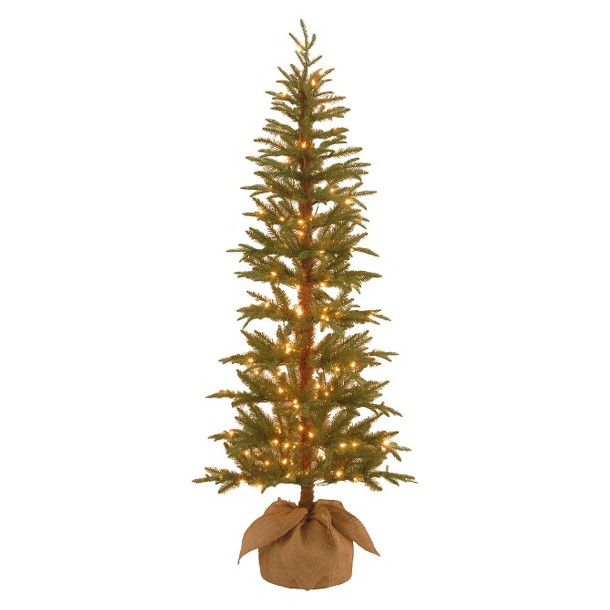 6' Pre-Lit Spruce Tree w/ Burlap Bag - Clear Lights