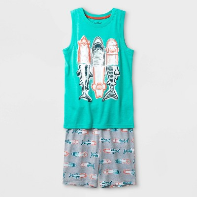 Cat and Cow Boys Grey /& Turquoise Construction Pajamas