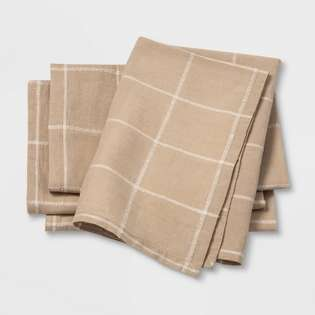 Project 62 Cloth Napkins 4 Pack 20 in x 20 in New Distressed Package Cream Green