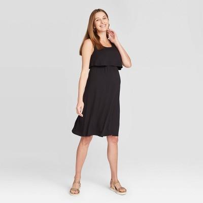 Liz Lange Maternity Dress S Black Stretchy Polyester Runched Sides Comfy 180224