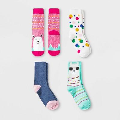 Girls Socks 4 Pair Knee High M Hearts Blue Gray 2 Of Each Pattern