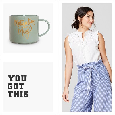 "You got this, Clay Art Stackable Mug 15oz Porcelain - ""Motivation in a mug"", Women's Sleeveless Eyelet Blouse - A New Day™"