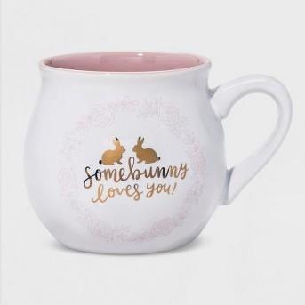 Somebunny Loves You Glazed Stoneware Mug Pink - Threshold™