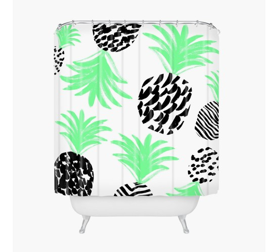 Classy Pineapples Shower Curtain Green - Deny Designs
