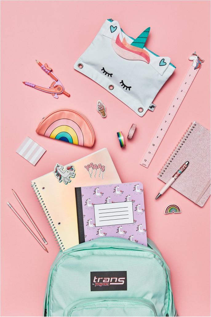 1-Zipper Binder Pencil Case Unicorn - Yoobi™, 4pc Compass & Protractor Set - Yoobi™, Keychain Coin Purse Rainbow - Yoobi™, 4ct Erasers - Yoobi™, 4 Sheets Doodle Stickers - Yoobi™, 8pc Sticky Note Set Tropical - Yoobi™, 12