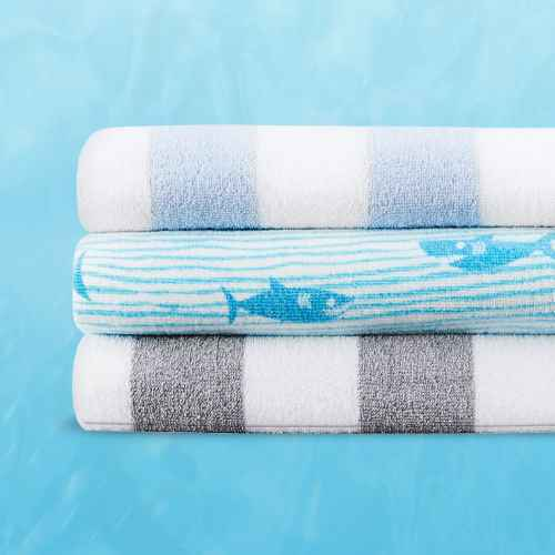 Cabana Striped Beach Towel Blue - Sun Squad™, Shark Beach Towel Blue - Sun Squad™, Cabana Striped Beach Towel Gray - Sun Squad™
