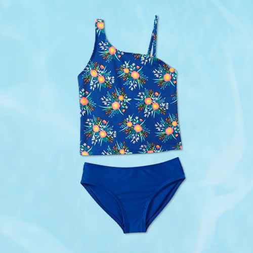 Girls' Floral Tankini Set - Cat & Jack™ Blue M
