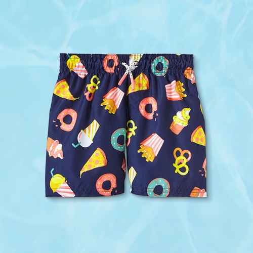 Toddler Boys' Food Drawstring Swim Trunks - Cat & Jack™ Navy