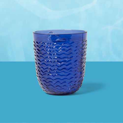 13oz Plastic Wave Texture Short Tumbler Dark Blue - Opalhouse™