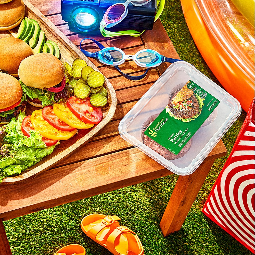 "Plant-Based Patties - 8oz - Good & Gather™, White Hamburger Buns - 17oz/8ct - Favorite Day™, Organic Kosher Hamburger Dill Pickle Chips - 32 fl oz - Good & Gather™, Colby Jack Deli Sliced Cheese - 8oz/12 slices - Good & Gather™, Swiss Deli Sliced Cheese - 7oz/10 slices - Good & Gather™, Pepper Jack Deli Sliced Cheese - 8oz/12 slices - Good & Gather™, Ravenscroft Modern Boho Acacia Wood Slat Top Outdoor Side Table - Brown - Saracina Home, 20"" x 13"" Acacia Serving Tray - Threshold™, 7oz 4pk Plastic Mini Bowls Orange - Room Essentials™, RCA Bluetooth 150"" Home Theater Projector, Speedo Junior 2pk Sea Spray Goggles - White/Monument, 3 Ring Pool Sun - Sun Squad™"