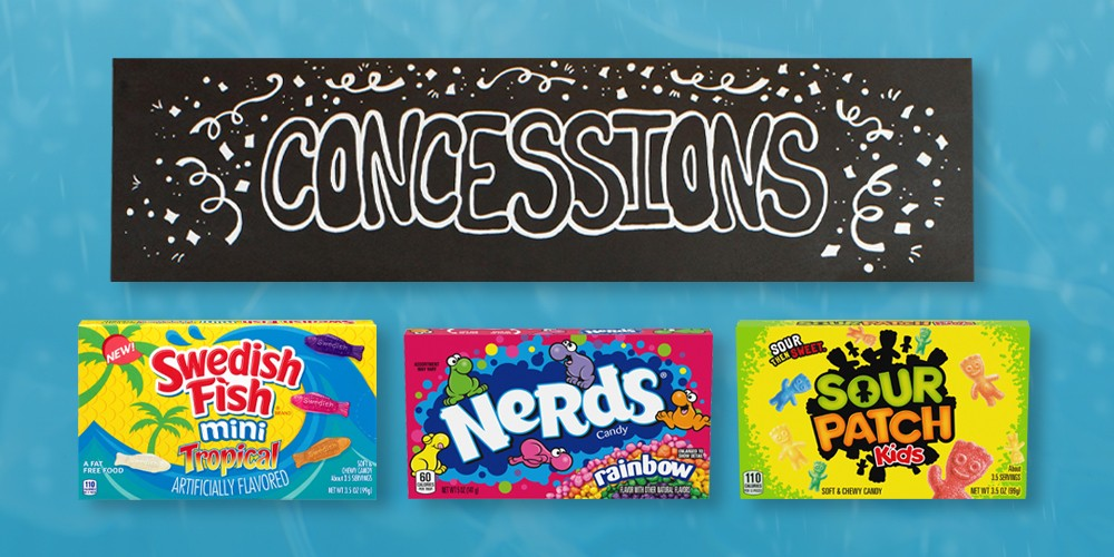 "Elmer's 36"" x 48"" Tri-Fold Foam Presentation Board - Black, 8ct Paint Markers Bullet Tip Classic Colors - Mondo Llama™, Swedish Fish Tropical Minis - 3.5oz, Nerds Rainbow Theater Box Candy - 5oz, Sour Patch Kids Soft & Chewy Candy - 3.5oz"