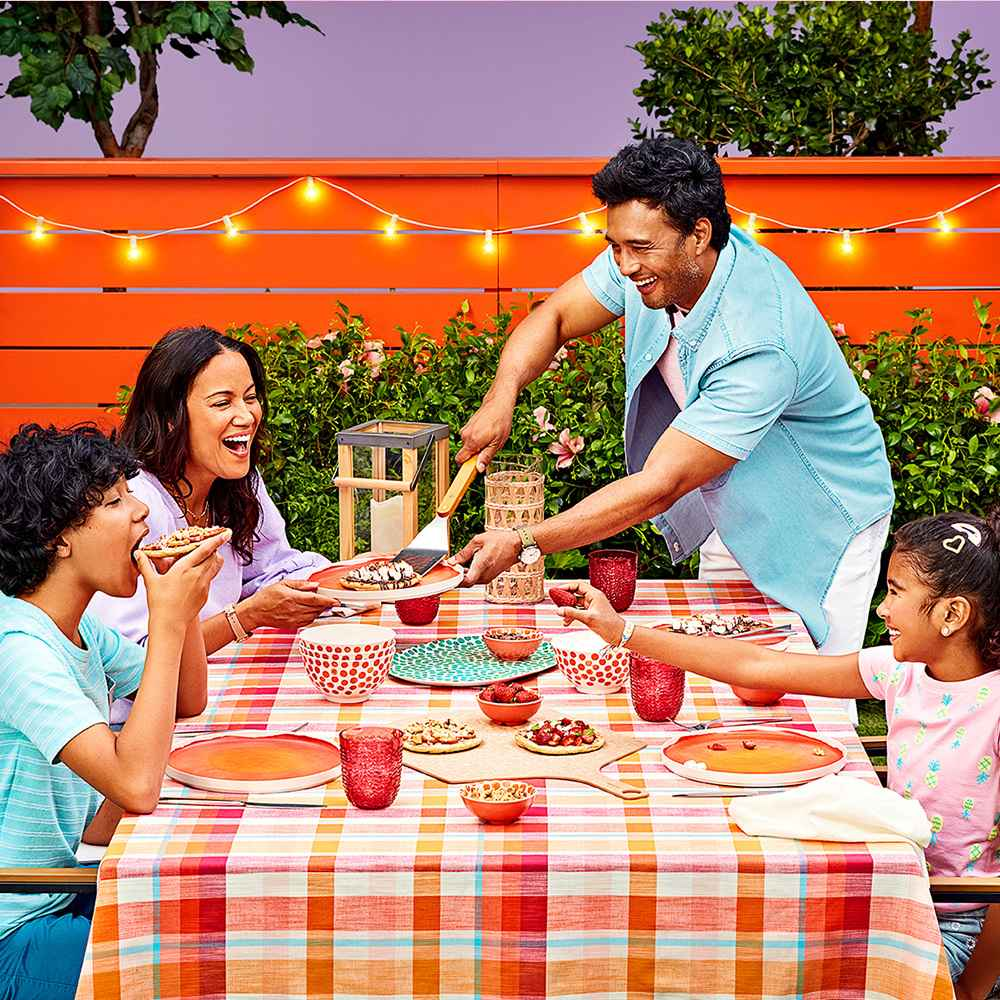 """10.5"""" Bamboo Melamine Dinner Plate Orange - Opalhouse™, 13oz Plastic Wave Texture Short Tumbler Pink - Opalhouse™, Small Iron and Wood Pillar 12"""" Outdoor Lantern Candle Holder Brown - Threshold™, Henning 6-Person Rectangle Patio Dining Table - Black - Project 62™, Henning 2pk Patio Dining Chairs - White - Project 62™, 64oz Glass Natural Wrap Beverage Pitcher - Opalhouse™, 20ct Incandescent Outdoor String Lights G40 Clear Bulbs - Mint Green Wire - Room Essentials™, SS Tool Set 7pc - Room Essentials™, 4pk Cotton Easy Care Napkins Cream - Threshold™, 20pc Narrow Kosta Stainless Steel Silverware Set Silver - Project 62™, 8"""" x 4"""" LED Flickering Flame Candle Cream - Threshold™, Women's 3/4 Sleeve Voile V-Neck Top - A New Day™ Purple S, Women's High-Rise Carpenter Shorts - Universal Thread™ Light Blue 6, Ball & Medallion in Worn Gold Layer Necklace - Universal Thread™ Gold, Women's Timex Easy Reader Leather Strap Watch - Rose Gold/Beige, Men's Slim Fit Lightweight Jeans - Goodfellow & Co™ White 34x32, Men's Regular Fit Stretch Denim Short Sleeve Button-Down Shirt - Goodfellow & Co™ Blue M, Men's Regular Fit Crewneck T-Shirt - Goodfellow & Co™ Pink M, Timex Weekender Slip Thru Nylon Strap Watch - Green T2N651JT, Boys' Short Sleeve Pocket T-Shirt - Cat & Jack™ Aqua L, Boys' Woven Pull-On Shorts - Cat & Jack™ Violet L, Girls' Printed Short Sleeve T-Shirt - Cat & Jack™ Peony Pink S, Girls' Daisy Jean Shorts - Cat & Jack™ Light Wash S, Toddler Girls' Rainbow and Straw Snap Clip Set - Cat & Jack™, Kids' 3pk Wide Braided Bracelet - More Than Magic™"""