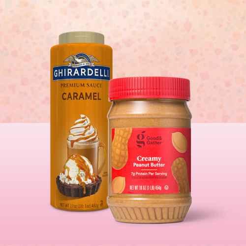 Ghirardelli Premium Caramel Sauce - 17oz, Creamy Peanut Butter 16oz - Good & Gather™