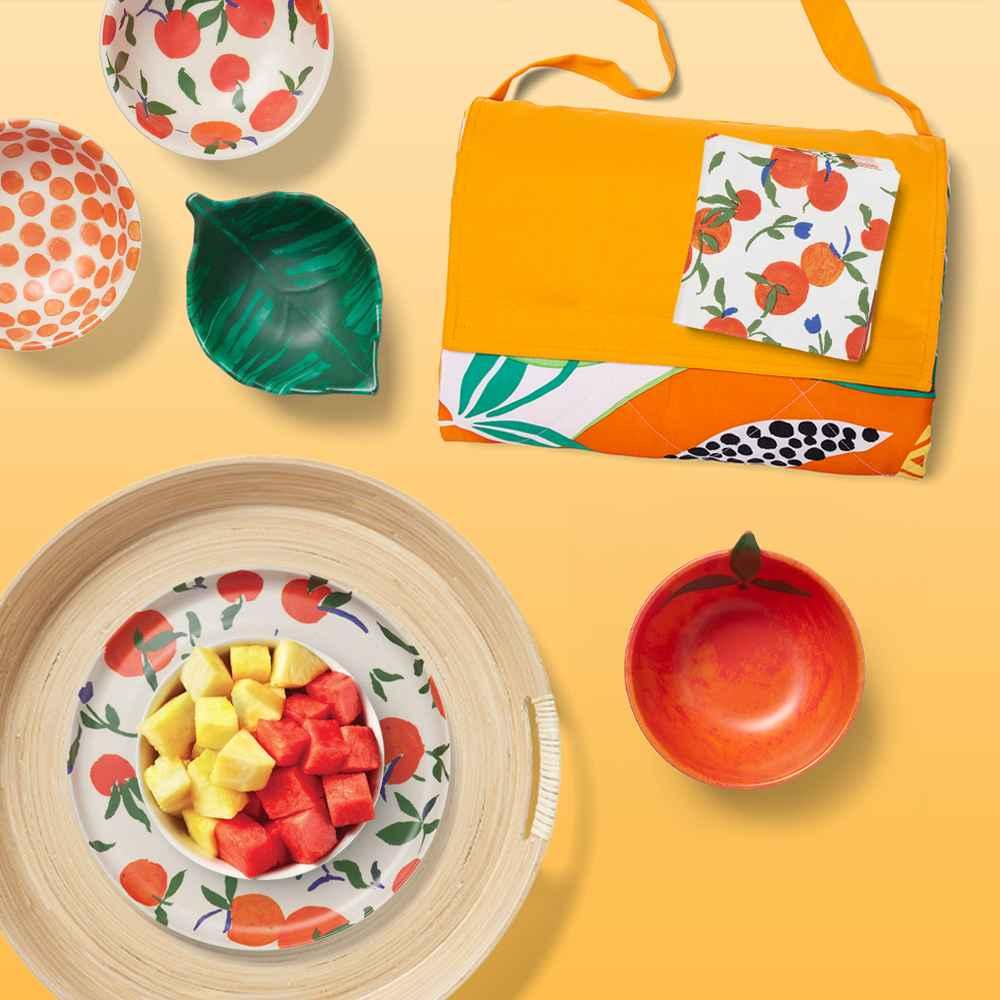 "4.5oz 2pk Bamboo Melamine Oranges Mini Bowls - Opalhouse™, 7.5oz Bamboo Melamine Leaf Mini Snack Bowl Green - Opalhouse™, 20ct Paper Cocktail Napkins - Opalhouse™, 72"" x 60"" Picnic Blanket - Sun Squad™, 8.5oz Bamboo Melamine Figural Orange Mini Snack Bowl - Opalhouse™, 16"" Bamboo Spun Serving Tray - Opalhouse™, 8"" Bamboo Melamine Oranges Salad Plate - Opalhouse™, Watermelon Spears - 16oz, Pineapple - each"
