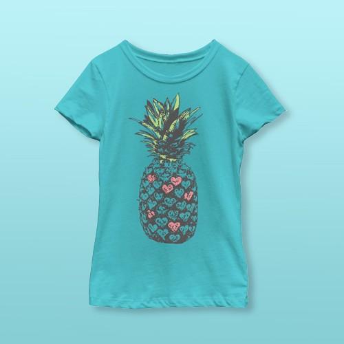 Girl's Lost Gods Heart Pineapple T-Shirt