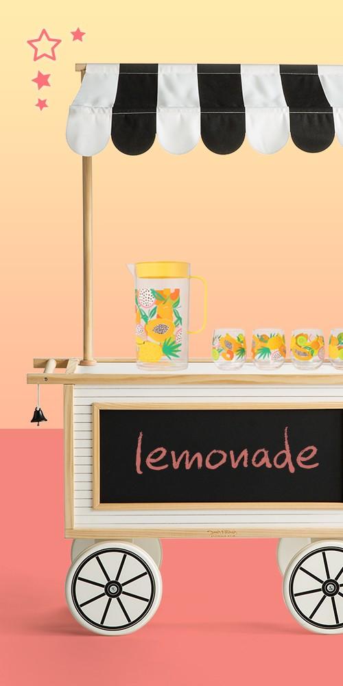 Kids Market Cart - Hearth & Hand™ with Magnolia, 82oz Plastic Drink Pitcher - Sun Squad™, 14oz 4pk Plastic Fruit Print Stemless Wine Glasses - Sun Squad™