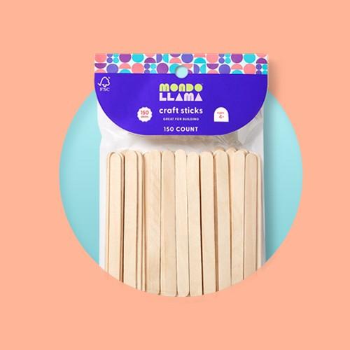 150ct Craft Sticks Natural - Mondo Llama™