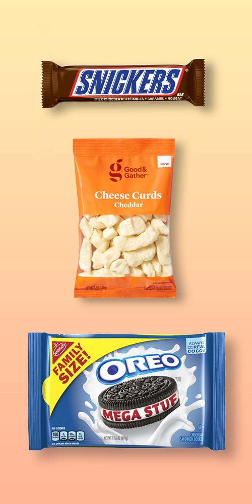 Snickers Candy Bar - 1.86oz, Original Cheese Curds - 5oz - Good & Gather™, Oreo Mega Stuf Family Size Sandwich Cookies - 17.6oz