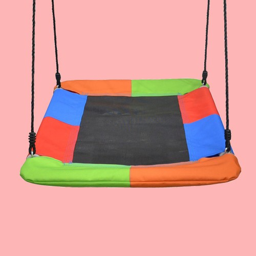 Swinging Monkey Giant 40 Inch Long x 30 Inch Wide 400 Pound Weight Capacity Square Mat Platform Outdoor Play Swing, Rainbow