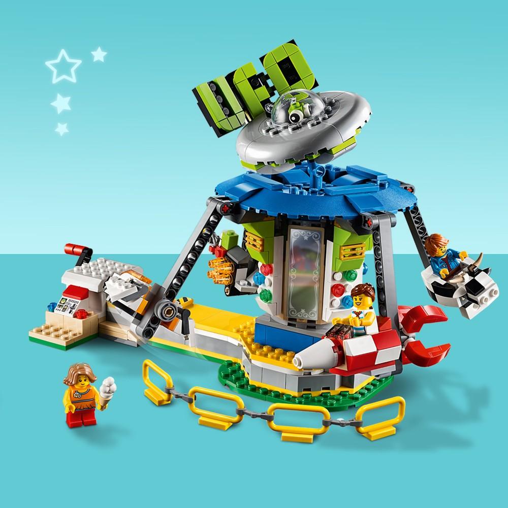 LEGO Creator Fairground Carousel Space-Themed Building Kit with Ice Cream Cart 31095
