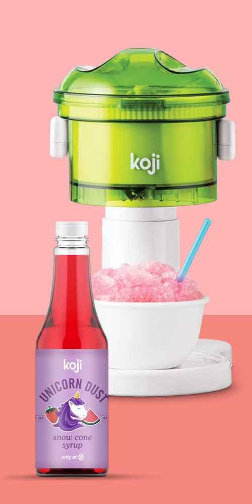 Koji Ice Shaver - Green, Koji Unicorn Dust Snowcone Syrup - 16oz