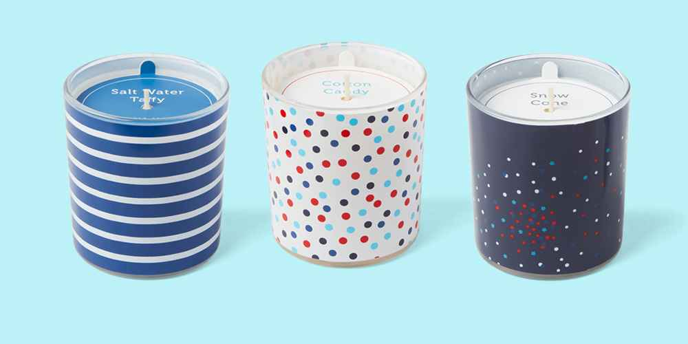5.5oz Americana Glass Jar Salt Water Taffy Candle - Sun Squad™, 5.5oz Americana Glass Jar Cotton Candy Candle - Sun Squad™, 5.5oz Americana Glass Jar Snow Cones Candle - Sun Squad™