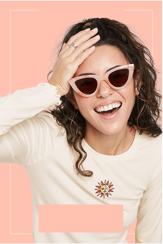 Women's Tie-Dye Print Cateye Sunglasses - Wild Fable™ Orange