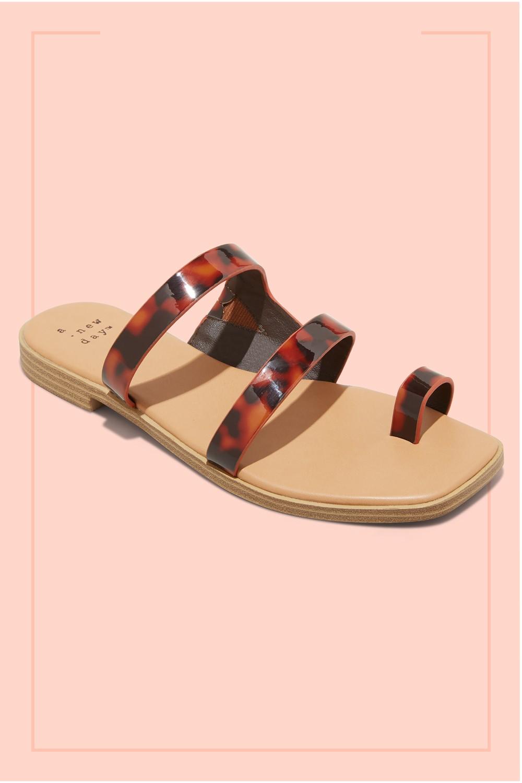 Women's Marilyn Tortoise Print Toe Loop Slide Sandals - A New Day™ Tortoise 6