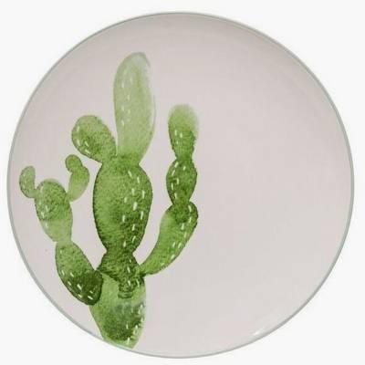 """Ceramic Jade Plate with Cactus (10"""") - 3R Studios"""