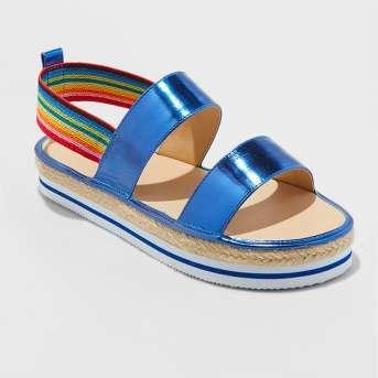 Girls' Metallic Espadrille Platform Rainbow Slide Sandals - Cat & Jack™