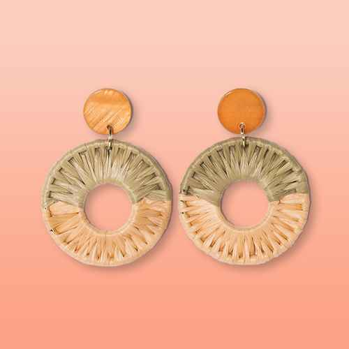 Shell Disc Post with Woven Raffia Drop Earrings - A New Day™ Blush Peach