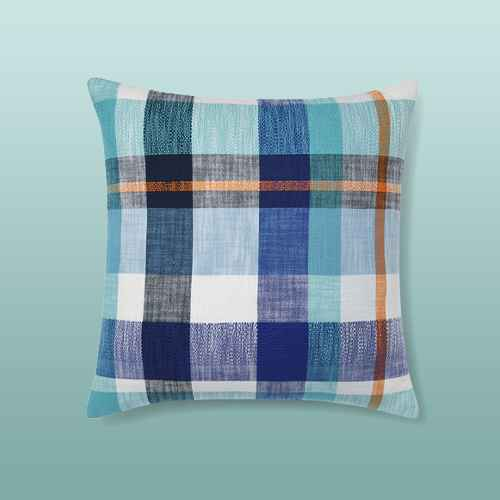 Oversized Textured Woven Plaid Square Throw Pillow Blue - Opalhouse™