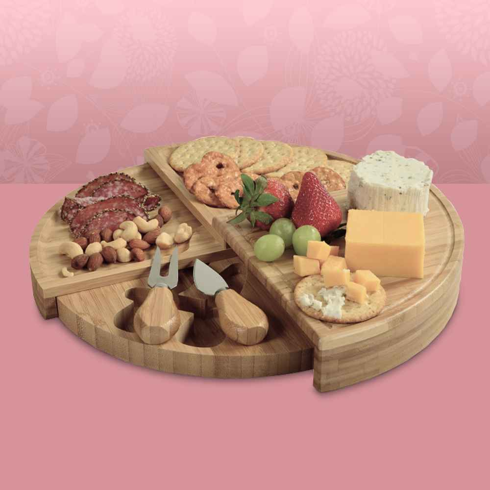 """Picnic at Ascot Patented Bamboo Cheese & Charcuterie Board - Stores as a Compact Wedge- Opens to 13"""" Diameter, Take And Bake Baguettes - 14oz/2ct - Favorite Day™, Entertaining Cracker Assortment - 13.1oz - Good & Gather™, Pretzel Crisps Original Pretzel Crackers - 11.25oz, Sea Salt Roasted Mixed Nuts - 30oz - Good & Gather™, Columbus Peppered Salame Deli Meats - 10oz, Sharp Cheddar Cheese - 8oz - Good & Gather™, Boursin Garlic And Herb Puck Cheese - 5.2oz"""