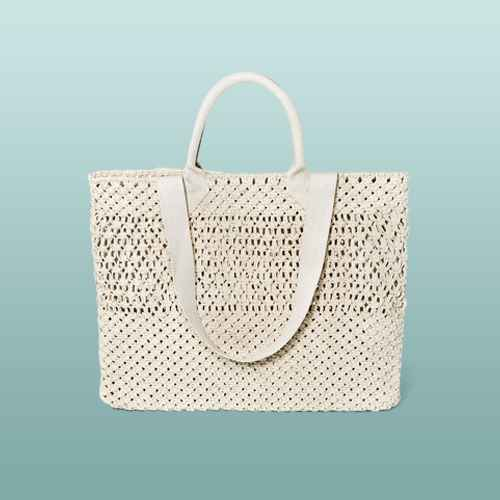 Circle Handle Crochet Tote Handbag - A New Day™ Natural