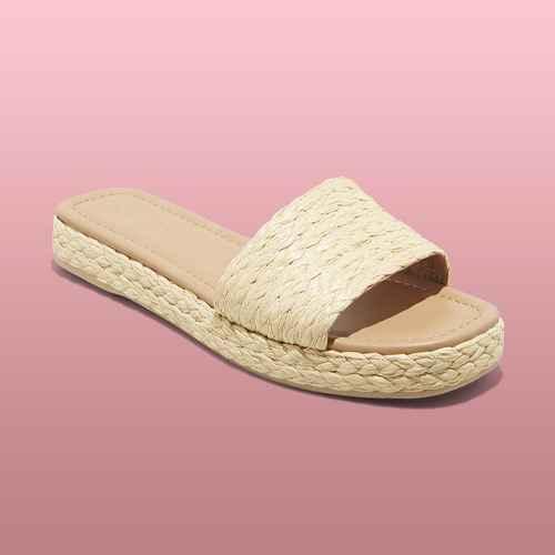Women's Mardi Raffia Platform Slide Sandals - Universal Thread™ Natural 6