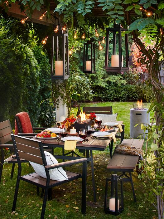 Enjoy chic dining outside as the weather cools. Patio Furniture   Target