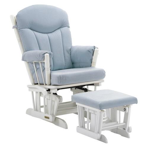 Regency Premium Multi-Position Locking Glider Rocker and Ottoman Set-White Finish with Blue Fabric, Blue/White