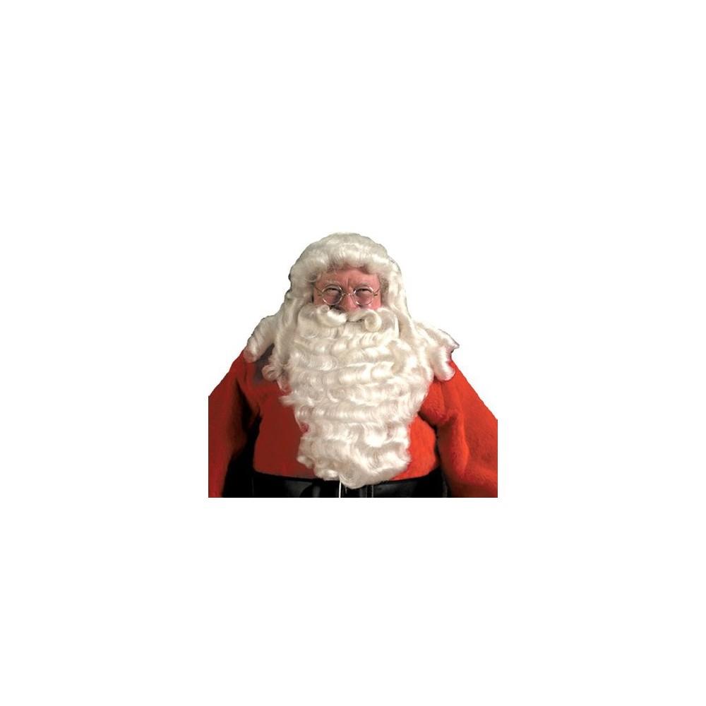 Mens Deluxe Santa Wig and Beard White