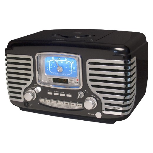 crosley corsair cd player radio black cr612 bk target. Black Bedroom Furniture Sets. Home Design Ideas