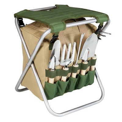 5 Pc Garden Tool Set with Tote And Folding Seat - Picnic Time