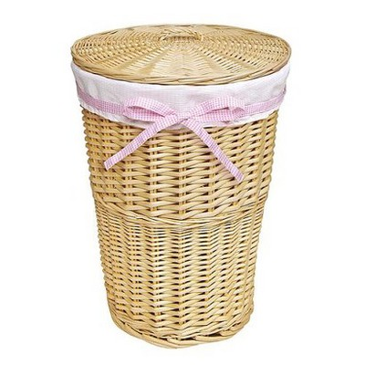 Badger Basket Round Wicker Hamper - Natural White
