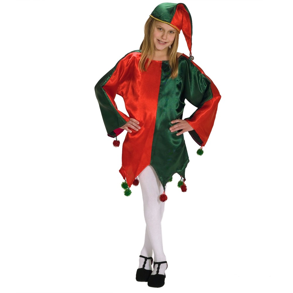 Girls Satin Jingle Elf Costume Small 4-6, Size: S(4-6)