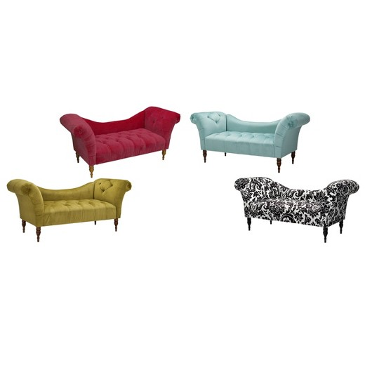 Button tufted chaise settee target for Button tufted chaise