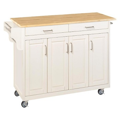Kitchen Cart With Wood Top Wood/White/Natural   Home Styles