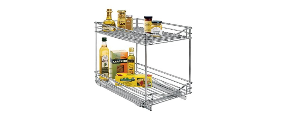 "Lynk Professional Pull Out Double Drawer - 2 Tier Sliding Cabinet Organizer 14""""w x 18""""d, Chrm"