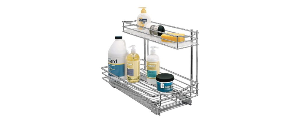 "Lynk Professional Pull Out Under Sink Drawer - 2 Tier Sliding Cabinet Organizer 11.5""""w x 18""""d, Chrm"