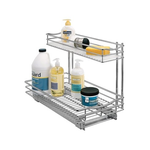 Lynk professional pull out under sink drawer 2 tier for Under sink cabinet tray