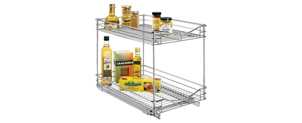 "Lynk Professional Pull Out Double Drawer - 2 Tier Sliding Cabinet Organizer 14""""w x 21""""d, Chrm"