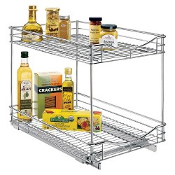 """Lynk Professional® Pull Out Double Drawer -  2 Tier Sliding Cabinet Organizer 14""""w x 21""""d"""